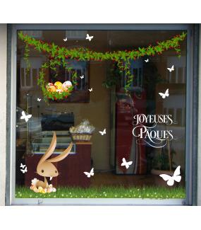 photo-sticker-frise-oeufs-fleurs-papillons-herbe-lapin-couvant-oeufs-decores-texte-joyeuses-paques-decoration-vitrine-vitrophanie-electrostatique-sans-colle-reutilisable-DECO-VITRES