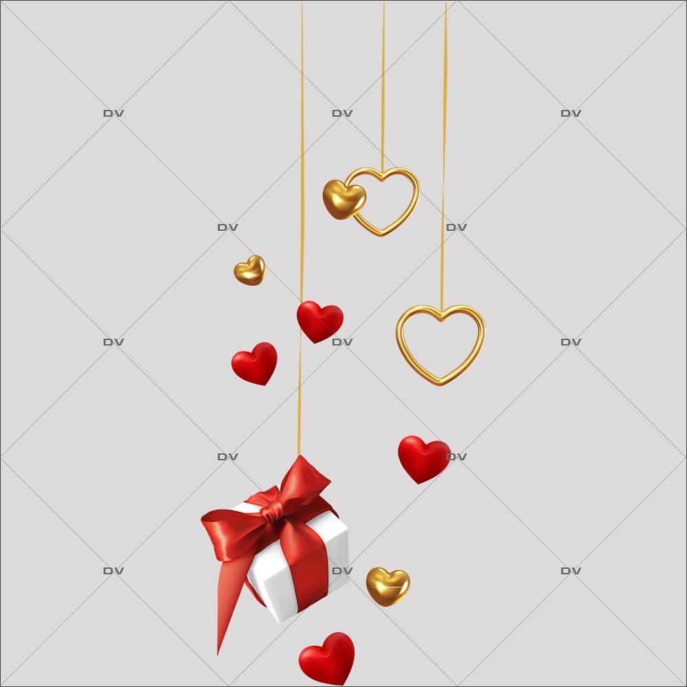 sticker-suspension-coeurs-or-paquet-cadeau-ruban-rouge-electrostatique-sans-colle-repositionnable-DECO-VITRES-SV73G