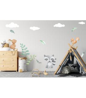 photo-chambre-enfant-raton-laveur-lapin-ecureuil-plantes-plumes-et-nuages-bebe-garcon-fille-tissu-adhesif-enlevable-sans-pvc-encres-ecologiques-latex-DECO-VITRES