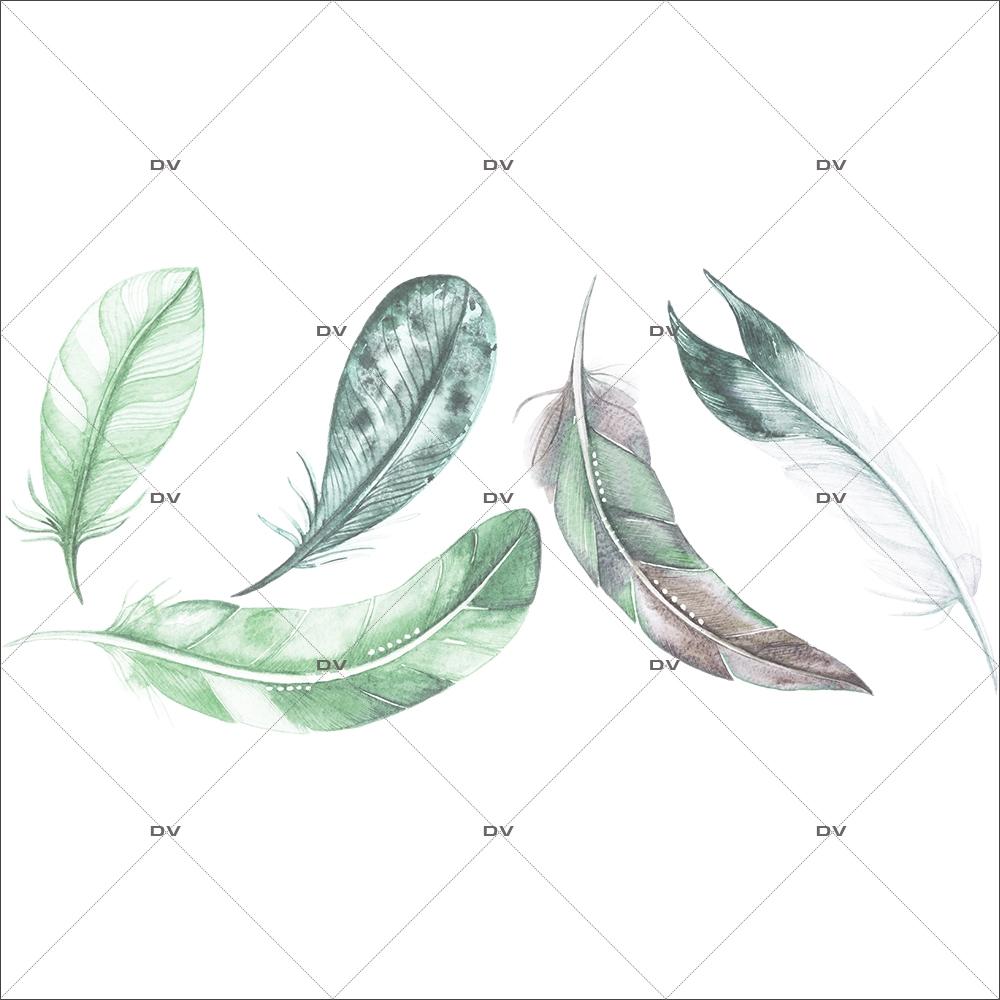 sticker-mural-5-plumes-chambre-bebe-enfant-garcon-fille-tissu-adhesif-enlevable-sans-pvc-encres-latex-ecologiques-mural-DECO-VITRES-ST204
