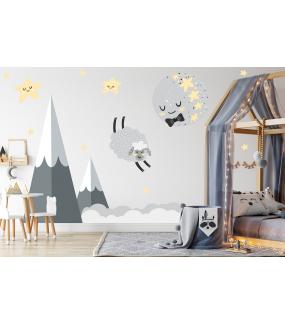 photo-chambre-enfant-lune-noeud-papillon-mouton-dodo-etoiles-montagnes-et-nuages-bebe-garcon-tissu-adhesif-enlevable-sans-pvc-encres-ecologiques-latex-DECO-VITRES