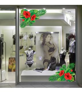 photo-decoration-vitrine-sticker-feuille-palmier-exotique-angle-fleurs-hibiscus-ete-nature-electrostatique-reutilisable-DECO-VITRES