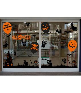 Sticker-halloween-manoir-hanté-31-octobre-vitrophanie-décoration-vitrine-halloween-électrostatique-sans-colle-repositionnable-réutilisable-DECO-VITRES