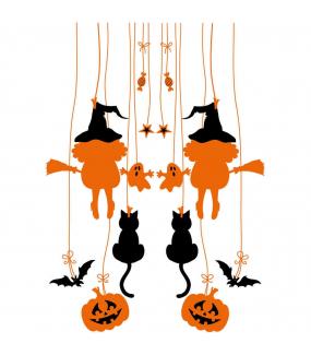Sticker-halloween-frises-suspensions-sorcières-citrouilles-fourche-chauve-souris-chat-noir-fantôme-31-octobre-vitrophanie-décoration-vitrine-halloween-électrostatique-sans-colle-repositionnable-réutilisable-DECO-VITRES