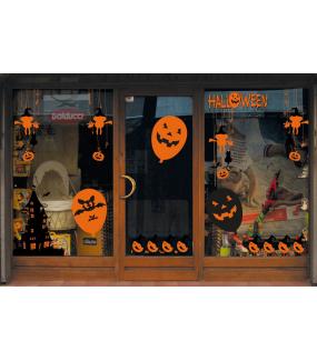Sticker-halloween-frise-oiseaux-chapeau-sorcière-friandises-31-octobre-vitrophanie-décoration-vitrine-halloween-électrostatique-sans-colle-repositionnable-réutilisable-DECO-VITRES