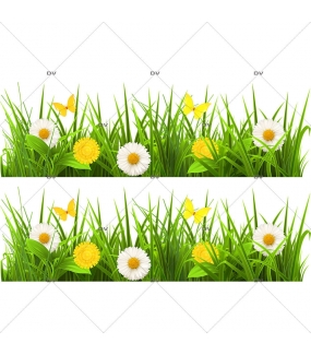 Sticker-frises-herbes-et-pâquerettes-fleurs-printemps-été-vitrophanie-décoration-vitrine-estivale-printanière-électrostatique-sans-colle-repositionnable-réutilisable-DECO-VITRES