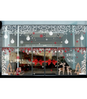 Sticker-bonhomme-de-neige-bonnet-cristaux-paysage-hiver-vitrophanie-décoration-vitrine-noël-électrostatique-sans-colle-repositionnable-réutilisable-DECO-VITRES