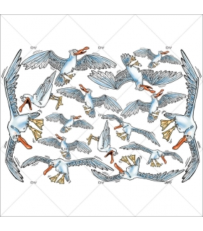 Sticker-mouettes-cartoon-mer-vitrophanie-décoration-vitrine-poissonnerie-restaurant-snack-électrostatique-sans-colle-repositionnable-réutilisable-DECO-VITRES