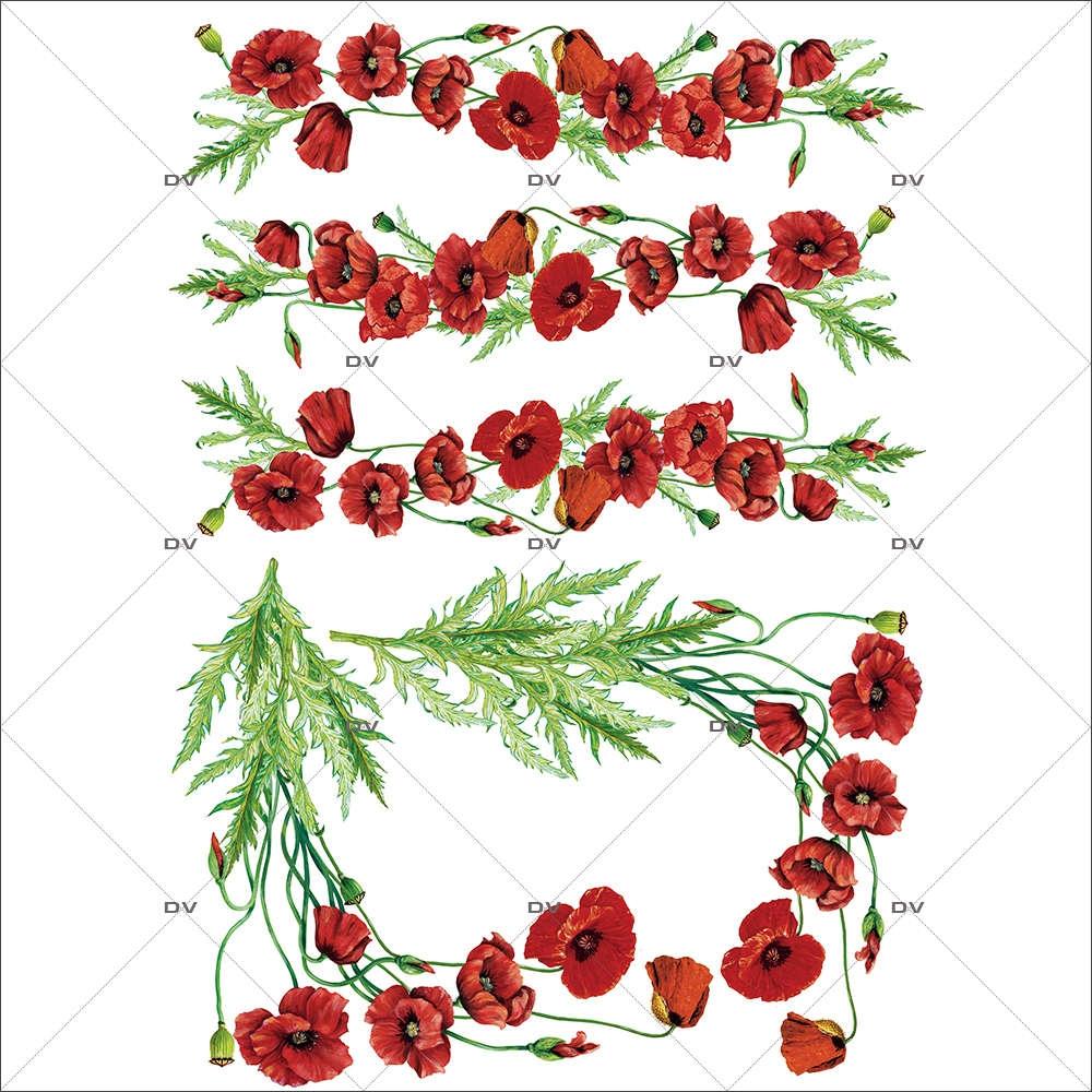 Sticker-frises-et-angles-de-coquelicots-provence-fleurs-été-vitrophanie-décoration-vitrine-estivale-électrostatique-sans-colle-repositionnable-réutilisable-DECO-VITRES