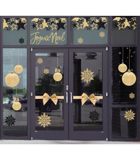 Sticker-frise-noeud-cadeau-doré-petit-à-géant-vitrophanie-décoration-vitrine-noël-électrostatique-sans-colle-repositionnable-réutilisable-DECO-VITRES