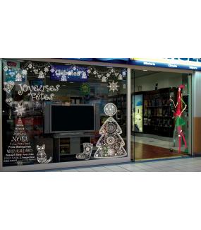 Sticker-chat-gant-coeur-étoile-noël-russe-blanc-vitrophanie-décoration-vitrine-noël-électrostatique-sans-colle-repositionnable-réutilisable-DECO-VITRES