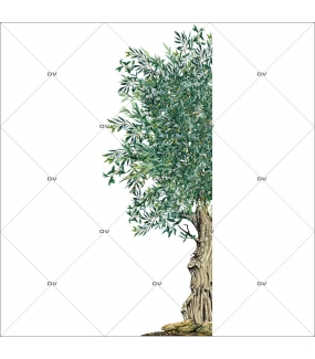 Sticker-demi-olivier-provence-arbre-olives-printemps-été-vitrophanie-décoration-vitrine-estivale-printanière-électrostatique-sans-colle-repositionnable-réutilisable-DECO-VITRES