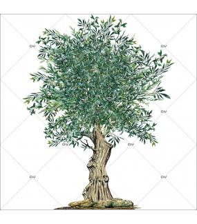 Sticker-olivier-provence-arbre-olives-printemps-été-vitrophanie-décoration-vitrine-estivale-printanière-électrostatique-sans-colle-repositionnable-réutilisable-DECO-VITRES