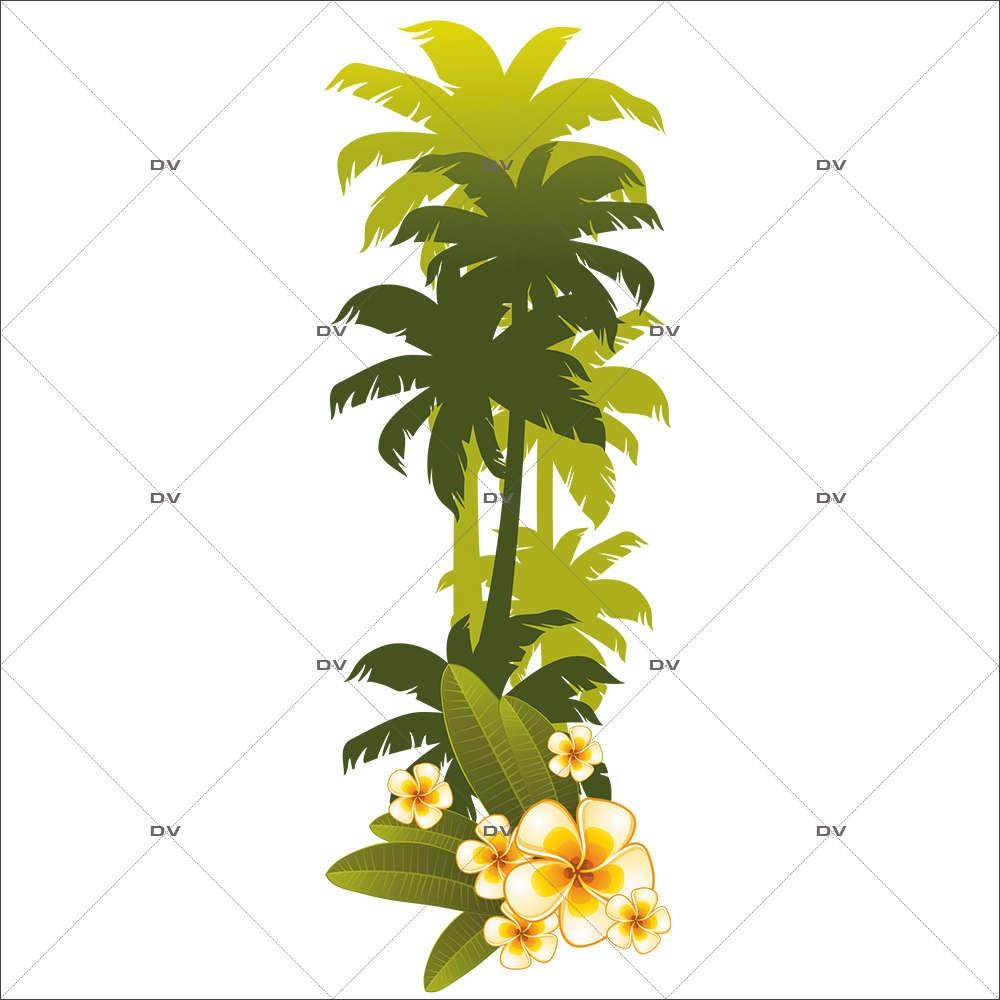 Sticker-palmiers-fleurs-de-tiaré-stylisés-exotique-mer-vacances-tropical-été-vitrophanie-décoration-vitrine-estivale-électrostatique-sans-colle-repositionnable-réutilisable-DECO-VITRES