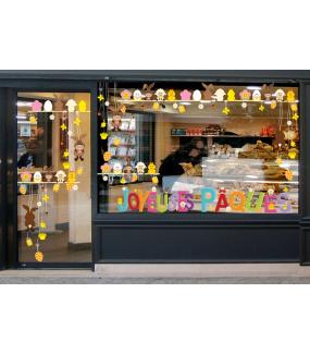 Sticker-frises-suspensions-oeufs-et-lapins-vitrophanie-décoration-vitrine-pâques-printanière-électrostatique-sans-colle-repositionnable-réutilisable-DECO-VITRES