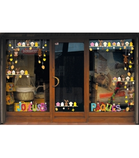 paq57 sticker banderole joyeuses p ques deco vitres electrostatique. Black Bedroom Furniture Sets. Home Design Ideas