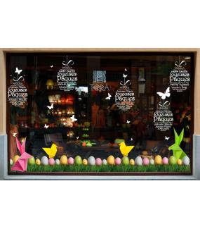 Sticker-frises-oeufs-de-pâques-acidulés-herbes-vitrophanie-décoration-vitrine-pâques-printanière-électrostatique-sans-colle-repositionnable-réutilisable-DECO-VITRES