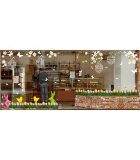 Sticker-origami-lapins-et-poussins-de-pâques-couleurs-acidulées-animaux-vitrophanie-décoration-vitrine-pâques-printanière-électrostatique-sans-colle-repositionnable-réutilisable-DECO-VITRES