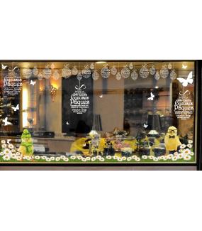 Sticker-poussin-lunettes-noeud-papillon-animaux-printemps-vitrophanie-décoration-vitrine-pâques-printanière-chic-opticien-électrostatique-sans-colle-repositionnable-réutilisable-DECO-VITRES