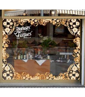Sticker-angles-oeufs-dentelle-de-fleurs-orange-blanc-vitrophanie-décoration-vitrine-pâques-printanière-électrostatique-sans-colle-repositionnable-réutilisable-DECO-VITRES