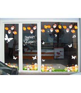 Sticker-frises-oeufs-de-pâques-suspendus-rubans-noeuds-vitrophanie-décoration-vitrine-pâques-printanière-électrostatique-sans-colle-repositionnable-réutilisable-DECO-VITRES