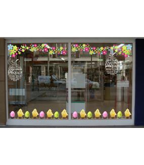 Sticker-frise-poussins-coquetiers-oeufs-de-pâques-couleurs-acidulées-animaux-vitrophanie-décoration-vitrine-pâques-printanière-électrostatique-sans-colle-repositionnable-réutilisable-DECO-VITRES