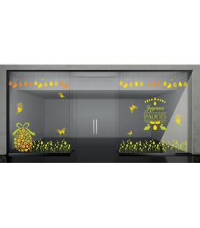 Sticker-frises-oeufs-coeurs-et-oiseaux-vert-vitrophanie-décoration-vitrine-pâques-printanière-électrostatique-sans-colle-repositionnable-réutilisable-DECO-VITRES