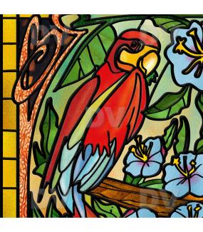 Sticker-vitrail-perroquets-oiseaux-fleurs-exotiques-vitrophanie-électrostatique-sans-colle-repositionnable-réutilisable-ou-adhésif-DECO-VITRES