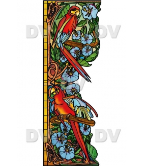 Sticker-perroquets-aras-fleurs-exotique-oiseaux-animaux-paysage-nature-tropical-vitrophanie-électrostatique-sans-colle-repositionnable-réutilisable-ou-adhésif-décoration-fenêtres-vitres-DECO-VITRES