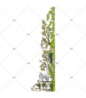Sticker-fontaine-lierre-fleurs-moineaux-colombes-oiseaux-paysage-printemps-été-vitrophanie-décoration-vitrine-estivale-printanière-électrostatique-sans-colle-repositionnable-réutilisable-DECO-VITRES