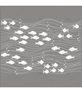 Sticker-poissons-et-vagues-mer-vacances-été-vitrophanie-décoration-vitrine-estivale-poissonnerie-restaurant-électrostatique-sans-colle-repositionnable-réutilisable-DECO-VITRES