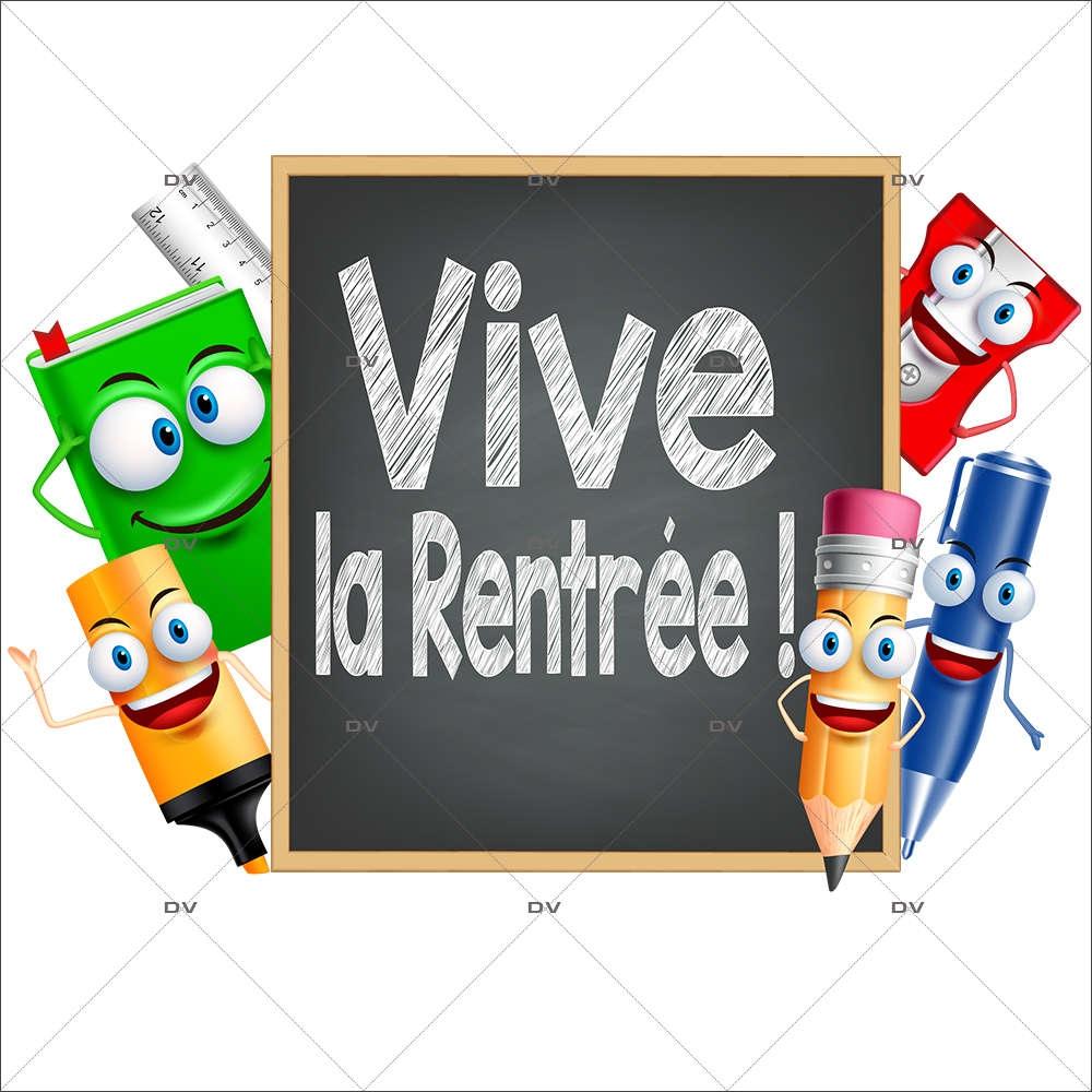 Sticker-ardoise-vive-la-rentrée-stylo-crayon-marqueur-règle-livre-vitrophanie-décoration-vitrine-rentrée-des-classes-électrostatique-sans-colle-repositionnable-réutilisable-DECO-VITRES
