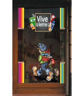 Sticker-frises-de-crayons-multicolores-vitrophanie-décoration-vitrine-rentrée-des-classes-électrostatique-sans-colle-repositionnable-réutilisable-DECO-VITRES