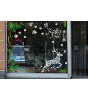 Sticker-renne-en-cristaux-animaux-blanc-vitrophanie-décoration-vitrine-noël-électrostatique-sans-colle-repositionnable-réutilisable-DECO-VITRES