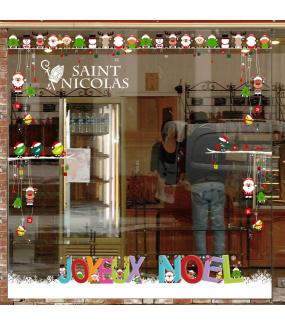 Sticker-texte-saint-nicolas-mitre-blanc-vitrophanie-décoration-vitrine-noël-opticien-électrostatique-sans-colle-repositionnable-réutilisable-DECO-VITRES