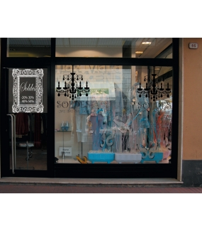 Sticker-soldes-pourcentages-cadre-retro-textes-blancs-vitrophanie-décoration-vitrine-promotionnelle-électrostatique-sans-colle-repositionnable-réutilisable-DECO-VITRES