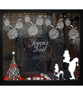 Sticker-sapin-en-boules-de-noël-étoiles-et-ruban-noeud-cadeau-blanc-rouge-vitrophanie-décoration-vitrine-noël-électrostatique-sans-colle-repositionnable-réutilisable-DECO-VITRES