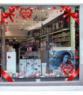 Sticker-texte-coeurs-14-février-St-Valentin-rouge-vitrophanie-décoration-vitrine-saint-valentin-électrostatique-sans-colle-repositionnable-réutilisable-DECO-VITRES