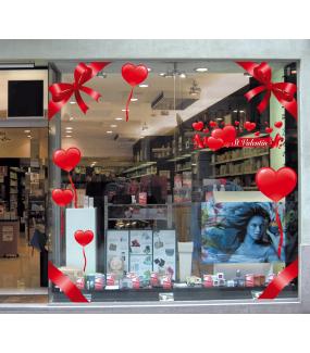 Sticker-ruban-banderole-texte-coeurs-St-Valentin-rouges-vitrophanie-décoration-vitrine-saint-valentin-électrostatique-sans-colle-repositionnable-réutilisable-DECO-VITRES