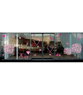 Sticker-arbre-en-fleurs-roses-printemps-été-vitrophanie-décoration-vitrine-printanière-estivale-saint-valentin-fêtes-mères-pères-électrostatique-sans-colle-repositionnable-réutilisable-DECO-VITRES