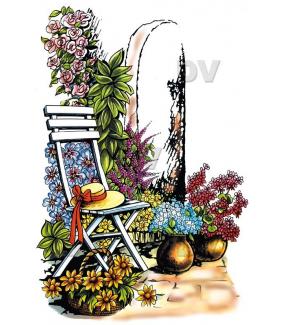 Sticker-chaise-jardin-chapeau-fer-forgé-retro-paysage-printemps-été-vitrophanie-décoration-vitrine-estivale-printanière-électrostatique-sans-colle-repositionnable-réutilisable-DECO-VITRES