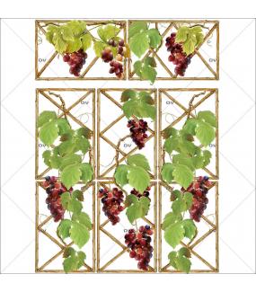 Sticker-treille-feuilles-de-vigne-grappes-raisins-vitrophanie-décoration-vitrine-cave-caviste-bar-à-vins-restaurant-supermarché-électrostatique-sans-colle-repositionnable-réutilisable-DECO-VITRES