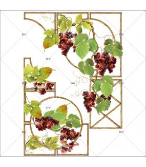 Sticker-angles-treille-feuilles-de-vigne-grappes-raisins-vitrophanie-décoration-vitrine-cave-caviste-bar-à-vins-restaurant-supermarché-électrostatique-sans-colle-repositionnable-réutilisable-DECO-VITRES