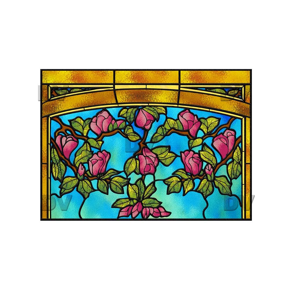 Sticker-vitrail-art-deco-arcades-fleurs-roses-paysage-nature-ancien-vintage-retro-vitrophanie-électrostatique-sans-colle-repositionnable-réutilisable-ou-adhésif-décoration-fenêtres-vitres-DECO-VITRES