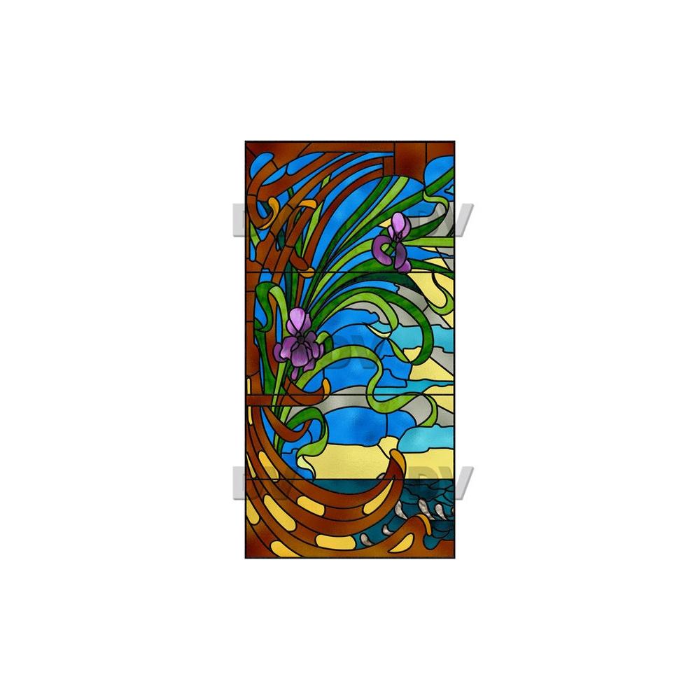 Sticker-vitrail-art-nouveau-retro-vintage-fleurs-iris-vitrophanie-électrostatique-sans-colle-repositionnable-réutilisable-ou-adhésif-décoration-fenêtres-vitres-DECO-VITRES