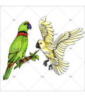 Sticker-2-oiseaux-exotiques-perroquets-cacatoès-été-animaux-vitrophanie-décoration-vitrine-estivale-électrostatique-sans-colle-repositionnable-réutilisable-DECO-VITRES