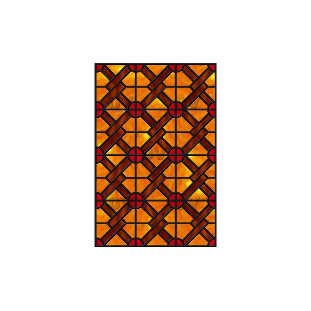 Sticker-vitrail-géométrique-orange-rouge-marron-ancien-vintage-retro-vitrophanie-électrostatique-sans-colle-repositionnable-réutilisable-ou-adhésif-décoration-fenêtres-vitres-DECO-VITRES