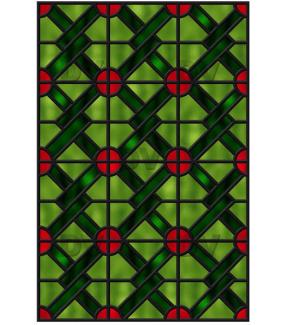 Sticker-vitrail-géométrique-vert-rouge-ancien-vintage-retro-vitrophanie-électrostatique-sans-colle-repositionnable-réutilisable-ou-adhésif-décoration-fenêtres-vitres-DECO-VITRES