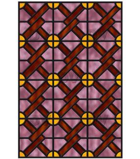 Sticker-vitrail-géométrique-jaune-rose-marron-ancien-vintage-retro-vitrophanie-électrostatique-sans-colle-repositionnable-réutilisable-ou-adhésif-décoration-fenêtres-vitres-DECO-VITRES