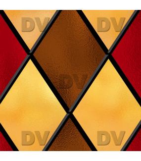 Sticker-vitrail-géométrique-losanges-marron-rouge-jaune-ancien-vintage-retro-vitrophanie-électrostatique-sans-colle-repositionnable-réutilisable-ou-adhésif-décoration-fenêtres-vitres-DECO-VITRES